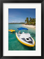 Framed Powerboat and banana boat, Plantation Island Resort, Malolo Lailai Island, Mamanuca Islands, Fiji