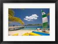 Framed Jetty, boats and hobie cat, Plantation Island Resort, Malolo Lailai Island, Mamanuca Islands, Fiji