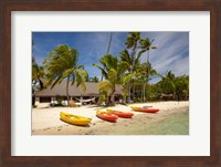 Framed Kayak on the beach, and waterfront bure, Plantation Island Resort, Malolo Lailai Island, Mamanuca Islands, Fiji