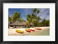 Framed Kayak on the beach, and waterfront bure, Plantation Island Resort, Malolo Lailai Island, Mamanuca Islands, Fiji