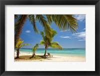Framed Beach, palm trees and lounger, Plantation Island Resort, Malolo Lailai Island, Mamanuca Islands, Fiji