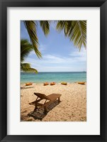 Framed Beach, palm trees and lounger, , Fiji