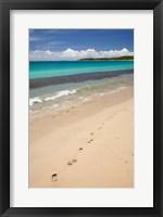 Framed Footprints in sand on Natadola Beach, Coral Coast, Viti Levu, Fiji