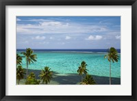 Framed Palm trees and coral reef, Crusoe's Retreat, Coral Coast, Viti Levu, Fiji