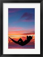 Framed Woman in hammock at sunset, Coral Coast, Viti Levu, Fiji