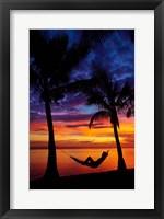 Framed Woman in hammock, and palm trees at sunset, Coral Coast, Viti Levu, Fiji