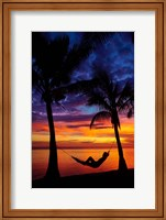 Framed Woman in hammock, and palm trees at sunset, Coral Coast, Viti Levu, Fiji