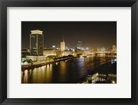 Framed Night View of the Nile River, Cairo, Egypt