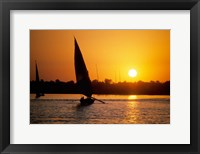 Framed Silhouette of a traditional Egyptian Falucca, Nile River, Luxor, Egypt