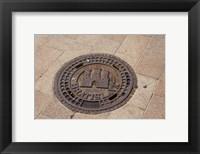 Framed Slovakia, Bratislava, Manhole, coat of arms
