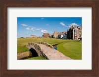 Framed Golfing the Swilcan Bridge on the 18th Hole, St Andrews Golf Course, Scotland