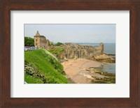 Framed Coastline Beach and Ruins of St Andrews, Scotland