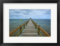 Framed Long wooden pier, Coral Coast, Fiji, South Pacific