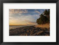 Framed Late afternoon light on a beach on Beachcomber island, Mamanucas Islands, Fiji, South Pacific