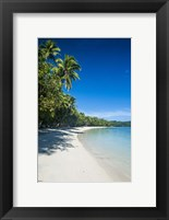 Framed White sand beach and water at the Nanuya Lailai island, the blue lagoon, Fiji