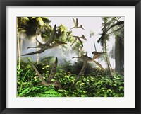Framed flock of Pterodactylus reptiles fly over the jungle searching for their next meal