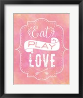 Framed Eat, Play, Love - Pink