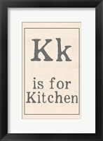 K is for Kitchen Framed Print