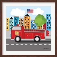 Framed Fire Truck