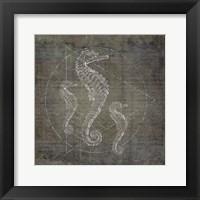 Framed Seahorse Geometric Silver