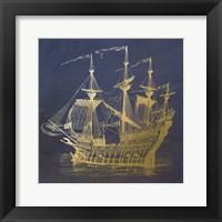 Framed Gold Ship