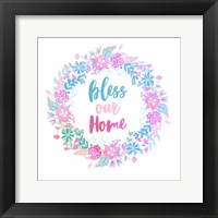 Framed Bless Our Home -Pastel