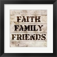 Framed Faith, Family, Friends In Wood