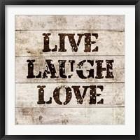 Framed Live Laugh Love In Wood