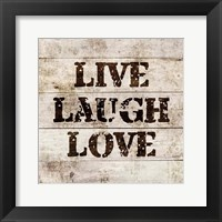 Framed Live Laugh Love In Wood