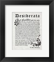 Framed Old English Desiderata In Gray