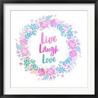 Framed Live, Laugh, Love-Pastel