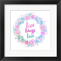Framed Live, Laugh, Love-Pastel