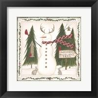 Framed Woodsy Woodland Snowman