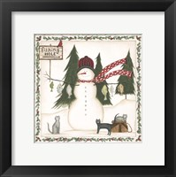 Framed Fishing Hole Snowman