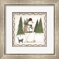Framed Cross Country Snowman