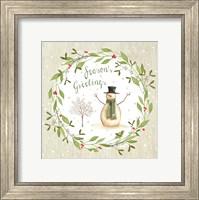 Framed Season's Greetings - Snowman