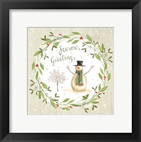 Framed Season's Greetings - Snowman