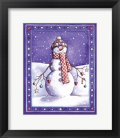 Framed Holiday Snowman with Hat