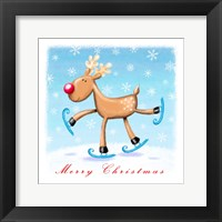 Framed Merry Christmas - Skating Reindeer