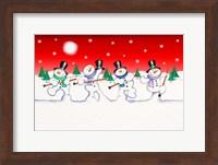 Framed Dancing Snowmen