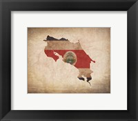 Framed Map with Flag Overlay Costa Rica