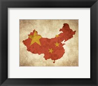 Framed Map with Flag Overlay China