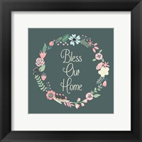 Framed Bless Our Home Floral Teal