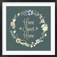 Framed Home Sweet Home Floral Teal