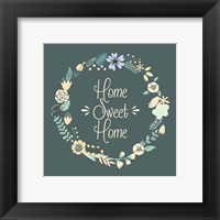 Framed Home Sweet Home Floral Teal