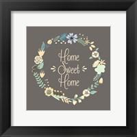 Framed Home Sweet Home Floral Brown