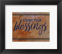 Framed Count Your Blessing-Brown