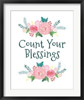 Framed Count Your Blessing-Floral