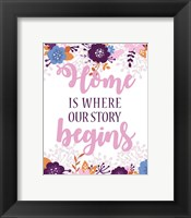 Framed Home Is Where Our Story Begins-Pink Floral