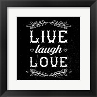 Framed Live Laugh Love-Black